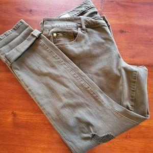 Torrid 14R gray distressed boyfriend jeans